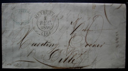 Meyrueis Lozère 1846 Cachet Type 13, Lettre Avec Cachet Vincent, Pour Lille - 1801-1848: Precursores XIX