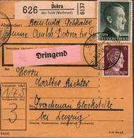 ! 1943 Dobra über Turek Wartheland , Paketkarte, Deutsches Reich, 3. Reich - Covers & Documents