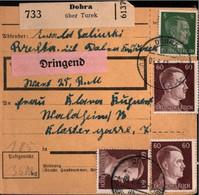 ! 1943 Dobra über Turek Wartheland Nach Waldheim, Paketkarte, Deutsches Reich, 3. Reich - Covers & Documents