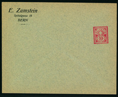 Sujet Wetziffer 10 Rp. Auf Ungelaufener Firmengazsache - E. ZUMSTEIN - SPITALGASSE 18 - BERN - Covers & Documents