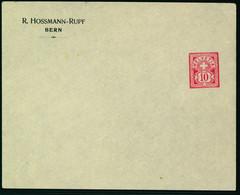 Sujet Wetziffer 10 Rp. Auf Ungelaufener Firmengazsache - R. HOSSMANN-RUPF - BERN - Covers & Documents