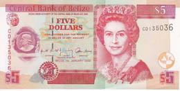 BILLETE DE BELICE DE 5 DOLLARS DEL AÑO 2002 SIN CIRCULAR (UNCIRCULATED)  (BANKNOTE) PEZ-FISH - Belize