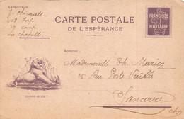 Carte Postale De L'Espérance / Franchise Militaire - Franchise Stamps
