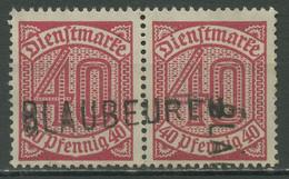 Deutsches Reich Dienstmarken 1920 Ohne 21, D 28 Waag. Paar Stempel BLAUBEUREN - Servizio