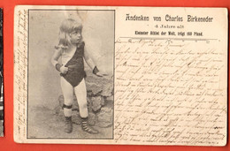 ZBJ-14 Kleinster Athlet Der Welt - Charles Birkeneder 1900  Kleinster Athlet Der Welt Pionier Gel. 1902,Briefmarke Fehlt - Zirkus