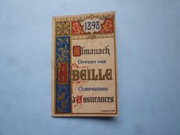 """Petit Calendrier 1898  """"CHROMO""""  Offert  Par L' ABEILLE, Cie Assurances, Vie Accidents, Incendie, Grèle (2020 Octobre 6) - Calendari"""