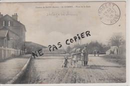 02 - SAINT GOBERT - PLACE DE LA GARE - VOITURE ATTELAGE DE CHIENS - CARTE RARE - Autres Communes