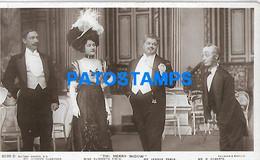 144782 ARTIST MR GORDON MISS ELIZABETH FIRTH MR LENNOX PAWLE MR ROBERTS ACTOR IN MERRY WIDOW POSTAL POSTCARD - Artiesten