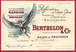 Carte De Visite Commerciale De Représentant 13 SALON-de-Provence - Huiles Graisses BERTHELON & Cie (Icare) - Tarjetas De Visita
