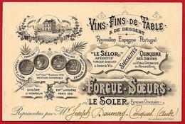 """Carte De Visite Commerciale De Représentant 66 LE SOLER Pyrénées Orientales - FORGUE SOEURS Vins, Apéritif """"Le Sélor"""" - Cartoncini Da Visita"""