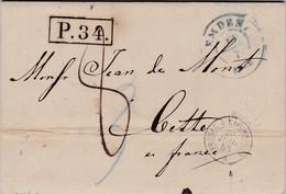 LAC De Emden (Allemagne) Pour Sète (34) - 19/07/1858 - CAD 15 + Marque Entrée Ambulante Prusse à Erquelines - TM 8 + P34 - Entry Postmarks
