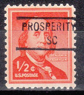 USA Precancel Vorausentwertung Preo, Locals South Carolina, Prosperity 841 - Preobliterati
