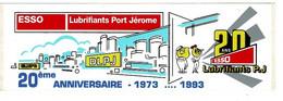Autocollant ESSO Port Jérome, 20ème Anniversaire 1973 - 1993 - Dim: 20 X 6,3 Cm - Stickers