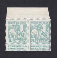 86+86-V3 ** (MNH) In Paar --- CARITAS --- V Op Linkse Zegel, ZONBAG --- OBP € 48,00 - Errors (Catalogue COB)