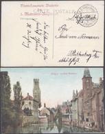 Bataillon Allemand - Feldpostkarte (Bruges 1915) + Griffe De Régiment BOOTSFANONEN-BATTERIE Des 3. MATROSEN-REGIMENT - Duits Leger