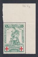 126-V5 ** (MNH) Rode Kruis --- V5: Witte Vlek In Kader --- OBP € 63,00 - Errors (Catalogue COB)