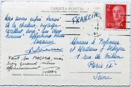 ESPAÑA     Dos  Pesetas Rojo Circulado En Tarjeta - 1105 - 1951-60 Storia Postale