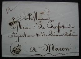 Strasbourg 1828 Port Payé P. 67 . P  Sur Lettre Pour Mâcon Sans Correspondance - 1801-1848: Precursores XIX