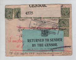 643PR/ UK Cover WW2 London Opened By Censor 4575 Returned To Sender Reason Stated > Belgium - Seconda Guerra Mondiale