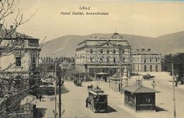 OLD REAL PHOTO POSTCARD AUSTRIA - GRAZ - HOTEL DANIEL (LAVORI DI RESTAURO) , ANNENSTRASSE, ANIMATA TRAM PRIMI '900 - W64 - Graz