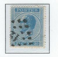 COB  18Aa   Bleu Ciel     (°) - 1865-1866 Profile Left
