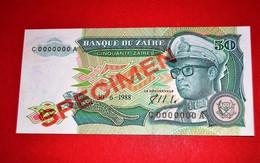 ZAIRE 50 ZAIRES - 30-6-1988 SPECIMEN * UNC BANKNOTE - Zaire