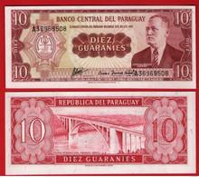 PARAGUAY, 10 Guaranies, 1952, Pick 196b, (A Prefix), UNC - Paraguay
