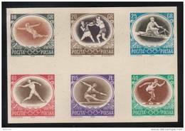 POLAND 1956 RARE SLANIA AUSTRALIA OLYMPICS COLOUR PROOF (NO GUM) SPORTS BOXING ROWING FENCING JAVELIN HURDLES - Verano 1956: Melbourne