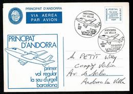 ANDORRE Viguerie Entier Postal Utilisé En Franchise Intérieure 1er Vol Régulier Seo D'Urgel Barcelona 12 Août 1982 TTB - Episcopale Vignetten