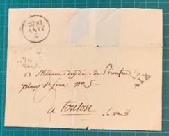 Bouches Du Rhône - AIX - Lettre D'Aix (sans Texte) Pour Toulon Avec Cachet D'arrivée (dateur A) Du 5 Janvier 1826 - 1801-1848: Precursores XIX