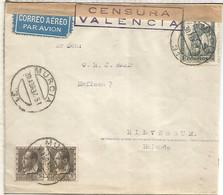 SEGUNDA REPUBLICA 1937 CC MURCIA A HILVERSUM HOLANDA CON CENSURA - 1931-50 Covers