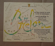 Barcelona Spain Segonda Emissio De Bons 10,000 Pesetas Olympic Games Funding Uncancelled Decorative - Other