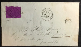 1869  DA MONTEROTONDO  CON 20 CENT DENT.  PER FIRENZE - Stato Pontificio