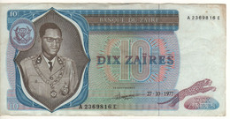 ZAIRE   10 Zaires   P23b   Dated   27-10-1977  ( President Mobutu ) - Zaire