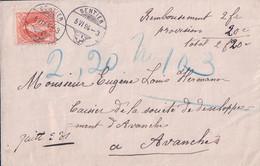 Lettre Remboursement Le Sentier - Avenches, Timbre Helvetie Debout Zst. No°66C (5.6.1894) - Briefe U. Dokumente