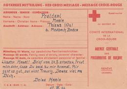 Allemagne Carte Crois Rouge Censurée Pour Genève 1945 - Covers & Documents