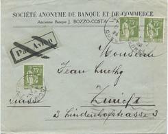 LETTRE POUR LA SUISSE 1935 AVEC 3 TIMBRES AU TYPE PAIX - 1921-1960: Periodo Moderno