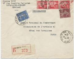 LETTRE RECOMMANDEE 1932 AVEC 5 TIMBRES AUX TYPES PAIX / SEMEUSE - 1921-1960: Modern Tijdperk