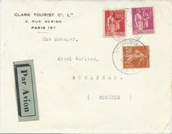 LETTRE PAR AVION POUR LA HONGRIE 1937 AVEC 3 TIMBRES AUX TYPES PAIX / SEMEUSE - 1921-1960: Modern Tijdperk