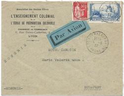 LETTRE PAR AVION POUR LA HONGRIE 1937 AVEC 2 TIMBRES AUX TYPES PAIX / MOULIN DE DAUDET - 1921-1960: Moderne