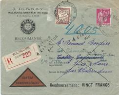 LETTRE CONTRE REMBOURSEMEN 1934  AVEC TIMBRE AU TYPE PAIX , CACHET DE RETOUR A L'ENVOYEUR ET TIMBRE TAXE - Portomarken