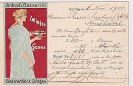 Zofinger Conserven - Künstl. Werbekarte - UPU-Frankatur - 1900     (01010) - Publicidad