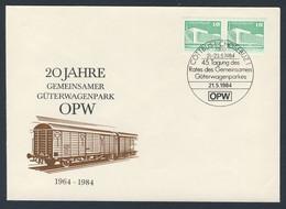 DDR Germany 1984 Brief Cover - 20 Jahre Gemeinsamen Güterwagenpark OPW - 45. Tagung, Cottbus, Chosebuz - Trains