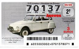 SPAIN LOTTERY TICKET VINTAGE AUTOMOVIL CITROEN DYANE 6 . CAR VOITURE COCHE - Loterijbiljetten