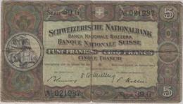 Suisse - Billet 5 Francs Suisse - UNC 20 Janvier 1949 - Série 39G - Schweizerische NationalBank - Svizzera