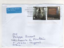"""Beaux Timbres , Stamps """" WWF Rhinocéros , Alan Turing Mathématicien """"  Sur Lettre , Cover , Mail  Pour La France - 1952-.... (Elizabeth II)"""