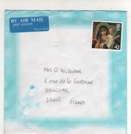"""Beau Timbre , Stamp """" Tableau Noël , Nativité """"  Sur Lettre , Cover , Mail  Pour La France - 1952-.... (Elizabeth II)"""