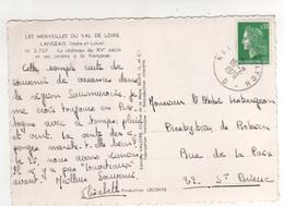 """Cachet Ferroviaire Ambulant """" Nantes à Lyon """" Sur Carte Postale De Langeais Du 16/02/1970 - Cartas"""