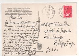 """Cachet Ferroviaire Ambulant """" Toulouse à Brive """" Sur Carte Postale Du Lot Du 31/08/1974 - Cartas"""