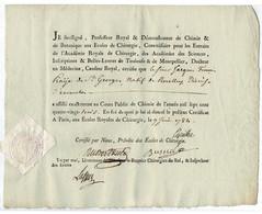RARE - Ancien MANUSCRIT - Certificat Des écoles Royales De Chirurgie 1784 Signature LASSUS PIERRE. - Manuscritos